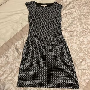 LOFT dress with gathered side, flattering fit
